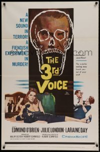 7b004 3rd VOICE 1sh 1960 cool image of Edmund O'Brien in huge skull + sexy Julie London!