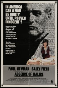 7b013 ABSENCE OF MALICE int'l 1sh 1981 Paul Newman, Sally Field, Sydney Pollack, cool design!