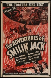 7b016 ADVENTURES OF SMILIN' JACK chapter 12 1sh 1942 serial, The Torture Fire Test, wild art!
