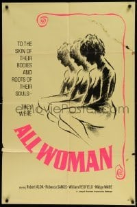 7b024 ALL WOMAN 1sh 1967 Robert Alda, Rebecca Sand, they were all woman, sexy artwork!
