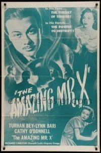 7b029 AMAZING MR. X 1sh R1950s in his eyes, the threat of terror, in his hands, the power to destroy