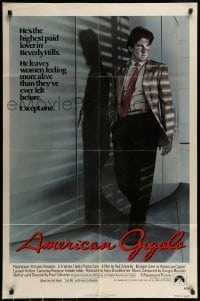 7b030 AMERICAN GIGOLO 1sh 1980 male prostitute Richard Gere is being framed for murder!