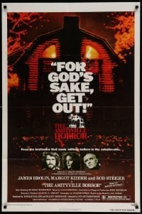 7b031 AMITYVILLE HORROR 1sh 1979 great image of haunted house, for God's sake get out!