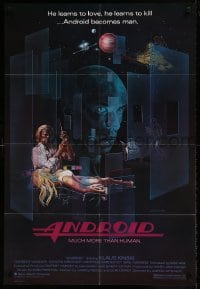 7b032 ANDROID 1sh 1982 Klaus Kinski, Norbert Weisser, Ernster art, Max 404 learns to love & kill!
