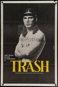 7b033 ANDY WARHOL'S TRASH 1sh 1970 close up of barechested Joe Dallessandro, Andy Warhol classic!
