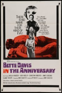 7b038 ANNIVERSARY int'l 1sh 1967 Bette Davis with funky eyepatch in English horror!