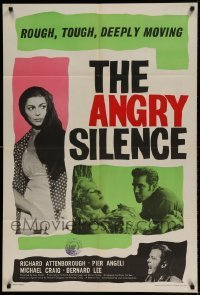 7b035 ANGRY SILENCE English 1sh 1961 Richard Attenborough angry with Bernard Lee by Pier Angeli!