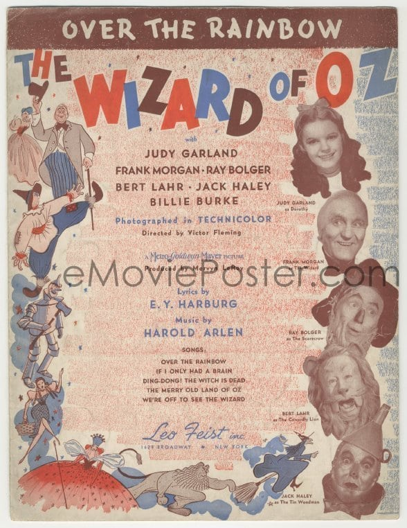 1 Of 7d538 WIZARD OF OZ Sheet Music 1939 Over The Rainbow Most Classic Song From Movie