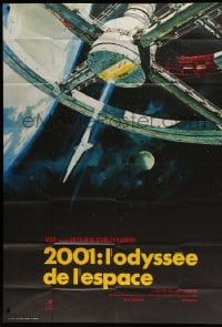 7g713 2001: A SPACE ODYSSEY French 1p R1970s Stanley Kubrick, Bob McCall art of space wheel!