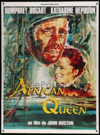 7g717 AFRICAN QUEEN French 1p R1990s colorful art of Humphrey Bogart & Katharine Hepburn!