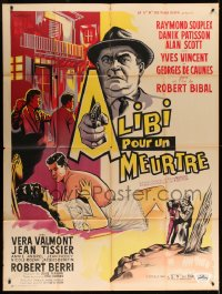 7g718 ALIBI POUR UN MEURTRE French 1p 1961 cool crime montage art by Brantonne!