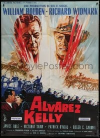 7g721 ALVAREZ KELLY French 1p 1966 different Roger Soubie art of William Holden & Richard Widmark!