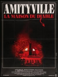 7g723 AMITYVILLE HORROR French 1p 1979 great image of haunted house, for God's sake get out!