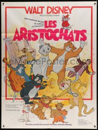 7g726 ARISTOCATS French 1p R1970s Walt Disney feline jazz musical cartoon, great colorful image!