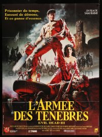 7g727 ARMY OF DARKNESS French 1p 1993 Sam Raimi, Bolton art of Bruce Campbell w/ chainsaw hand!