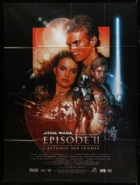 7g728 ATTACK OF THE CLONES French 1p 2002 Star Wars Episode II, great montage art by Drew Struzan!