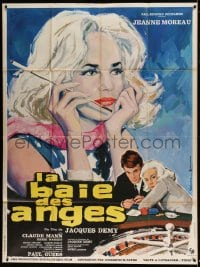 7g738 BAY OF THE ANGELS French 1p 1963 Jacques Demy, Gonzalez art of Jeanne Moreau & roulette wheel