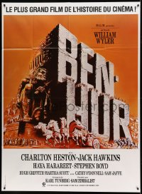7g741 BEN-HUR French 1p R1980s Charlton Heston, William Wyler religious epic, chariot art!