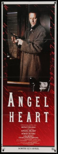 7g687 ANGEL HEART French door panel 1987 c/u of Mickey Rourke with gun, directed by Alan Parker!