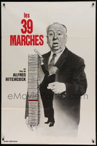 7g648 39 STEPS French 32x47 R1970s great huge image of Alfred Hitchcock stacking his own movies!