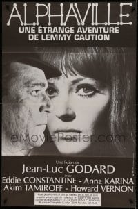7g650 ALPHAVILLE French 30x46 R1983 Jean-Luc Godard, Eddie Constantine as Lemmy Caution, Anna Karina