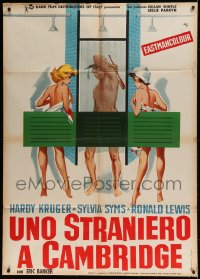 7g422 BACHELOR OF HEARTS Italian 1p 1958 Nano art of Hardy Kruger naked between women in shower!