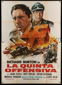 7g315 BATTLE OF SUTJESKA Italian 2p 1973 art of Richard Burton & Nazi swastika over WWII battle!