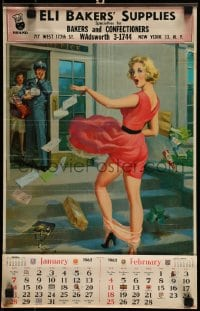 7g047 ART FRAHM 12x19 calendar 1962 woman dropping panties in front of mailman, ladies in distress!