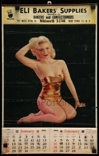 7g048 GOLDEN CHARMER 12x19 calendar 1962 sexy blonde posing in skimpy gold swimsuit!