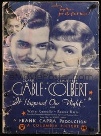 7g035 IT HAPPENED ONE NIGHT pressbook 1934 Clark Gable, Claudette Colbert, Frank Capra, ultra rare!