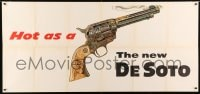 7g001 DESOTO 30x65 car advertising poster 1955 Moss art of Colt Texan Jr. revolver, hot as a pistol!