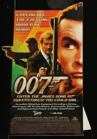 7g059 JAMES BOND video 12x17 standee 2000 Sean Connery, Roger Moore & Pierce Brosnan!