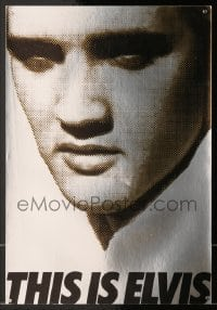 7g078 THIS IS ELVIS foil trade ad 1981 Elvis Presley rock 'n' roll biography, portrait of The King!