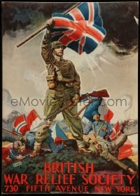7g009 BRITISH WAR RELIEF SOCIETY 15x21 WWII war poster 1940s Frank Reilly art of European soldiers!