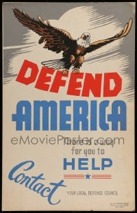 7g003 DEFEND AMERICA hand-created 14x22 WPA WWII war poster 1940s there is a way for you to help!