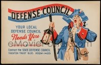 7g004 DEFENSE COUNCIL hand-created 14x22 WPA WWII war poster 1940s art of Revolutionary War soldier!