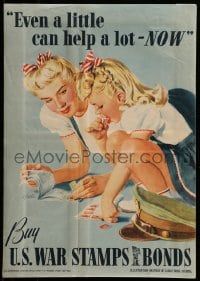 7g010 EVEN A LITTLE CAN HELP A LOT - NOW 14x20 WWII war poster 1942 art of mom & daughter by Parker