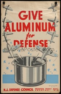 7g005 GIVE ALUMINUM FOR DEFENSE hand-created 14x22 WPA WWII war poster 1940s recycle pots for planes