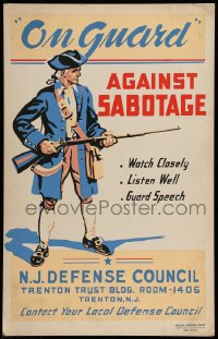 7g006 ON GUARD AGAINST SABOTAGE hand-created 14x22 WPA WWII war poster 1940s watch close listen well