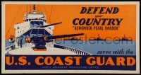 7g011 U.S. COAST GUARD 11x21 WWII war poster 1940s Remember Pearl Harbor, defend your country!