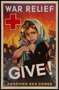 7g013 WAR RELIEF GIVE 13x20 WWII war poster 1940 F. Sands Brunner art of orphan affected by war!