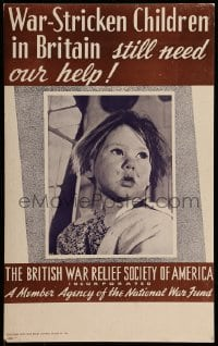 7g014 WAR-STRICKEN CHILDREN IN BRITAIN 13x22 WWII war poster 1940s orphans still need our help!