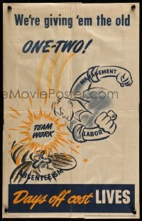 7g016 WE'RE GIVING 'EM THE OLD ONE-TWO 14x21 WWII war poster 1943 art of man punching bee!