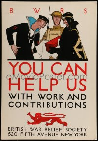 7g017 YOU CAN HELP US 15x22 WWII war poster 1940s British War Relief Society work & contributions!