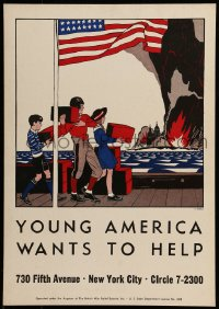 7g018 YOUNG AMERICA WANTS TO HELP 14x20 WWII war poster 1940s great art by F.T. Chapman!