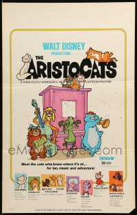 7g174 ARISTOCATS WC 1971 Walt Disney feline jazz musical cartoon, great colorful image!