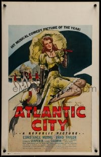7g175 ATLANTIC CITY WC 1944 sexy art of Constance Moore with bonnett & umbrella by Schaeffer!