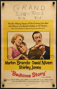7g177 BEDTIME STORY WC 1964 great image of Marlon Brando, David Niven & Shirley Jones!