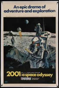 7k001 2001: A SPACE ODYSSEY linen Cinerama style B 1sh 1968 Bob McCall moon men art, ultra rare!