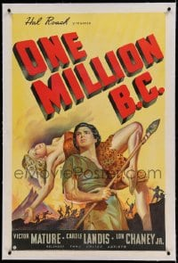 7k168 ONE MILLION B.C. linen 1sh 1940 wonderful art of Victor Mature with sexy Carole Landis, rare!